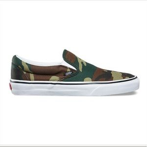 Vans slip on woodland camouflage sneaker shoes